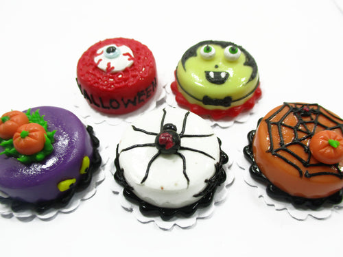 Dollhouse Miniatures Halloween Cake 2 cm Mixed 5 Cakes Seasonal Supply 14913