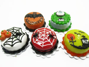 Dollhouse Miniatures Halloween Cake 2 cm Mixed 5 Cakes Seasonal Supply 14915