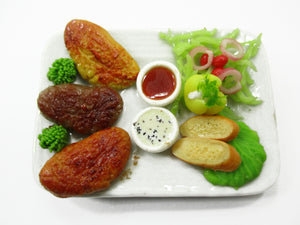1:6 Barbie Dollhouse Miniatures Food Grilled Chicken BBQ Dollhouse Food 14974