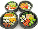 Dollhouse Miniatures Japanese Food 4 Round Sushi Wooden Lunch Box Supply 15108