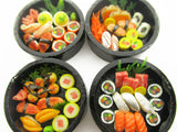 Dollhouse Miniatures Japanese Food 4 Round Sushi Wooden Box Supply 15112