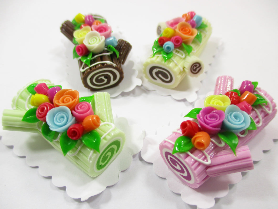 4 Mixed Color Log Roll Cake Flower Rose Dollhouse Miniature Food Barbie 15163