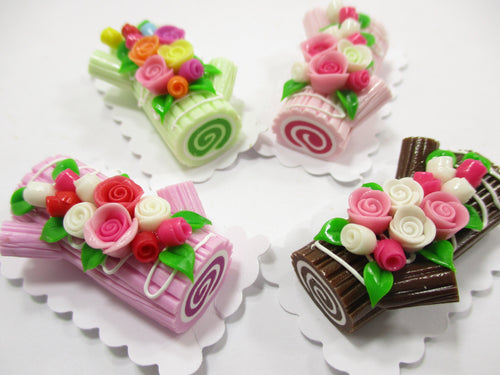 4 Log Roll White Cakes Flower Rose Dollhouse Miniatures Food Set Barbie 15171