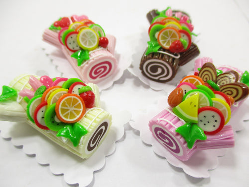 Dollhouse Miniature Food Set 4 Color Log Roll Cakes Fruit Topping Barbie 15179