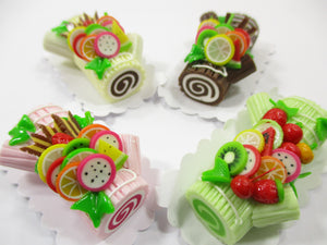 Dollhouse Miniatures Food Set 4 Color Log Roll Cakes Fruit Topping Barbie 15180