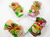 4 Mixed Color Log Roll Cakes Fruit Topping Dollhouse Miniature Food Barbie 15183