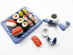 Dollhouse Miniature Japanese Food Ceramic Lunch Set Dollhouse Food Supply 15219