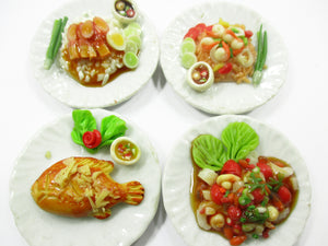 Dollhouse Miniature food 4 Ceramic Plates Thai Food Dollhouse Food Supply 15241