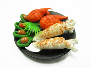1:6 Barbie Dollhouse Miniature Food Grilled Squid Crab Mussels BBQ Food 15243
