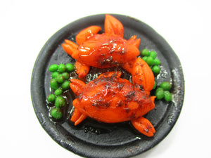 1:6 Barbie Dollhouse Miniature Food Fried Crab With Black Pepper Supply 15245