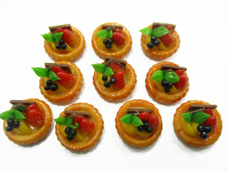 Dollhouse Miniature Food Lot 10 Mini Mixed Fruit Tart Cake Bakery Supply 15248