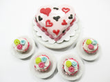 Dollhouse Miniatures Food Heart Pink Cake Cupcake Ceramic Plate Supply Set 15249
