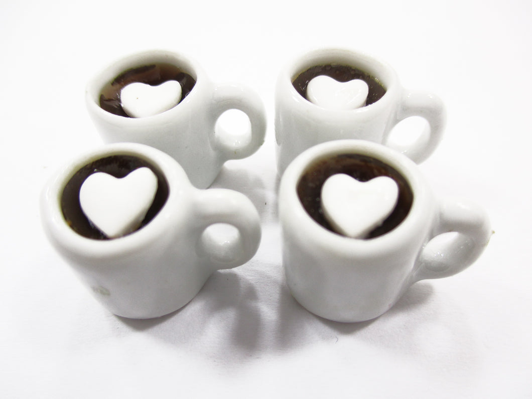 Dollhouse Miniature Drink Beverage 4 Black Coffee Ceramic Cups Mug #L 15254