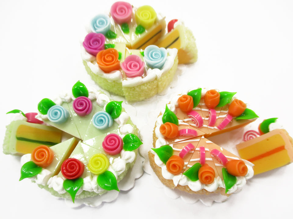 Dollhouse Miniature Food 24 Cuts Slice Cake Mixed Color Rose Flower Supply 15284