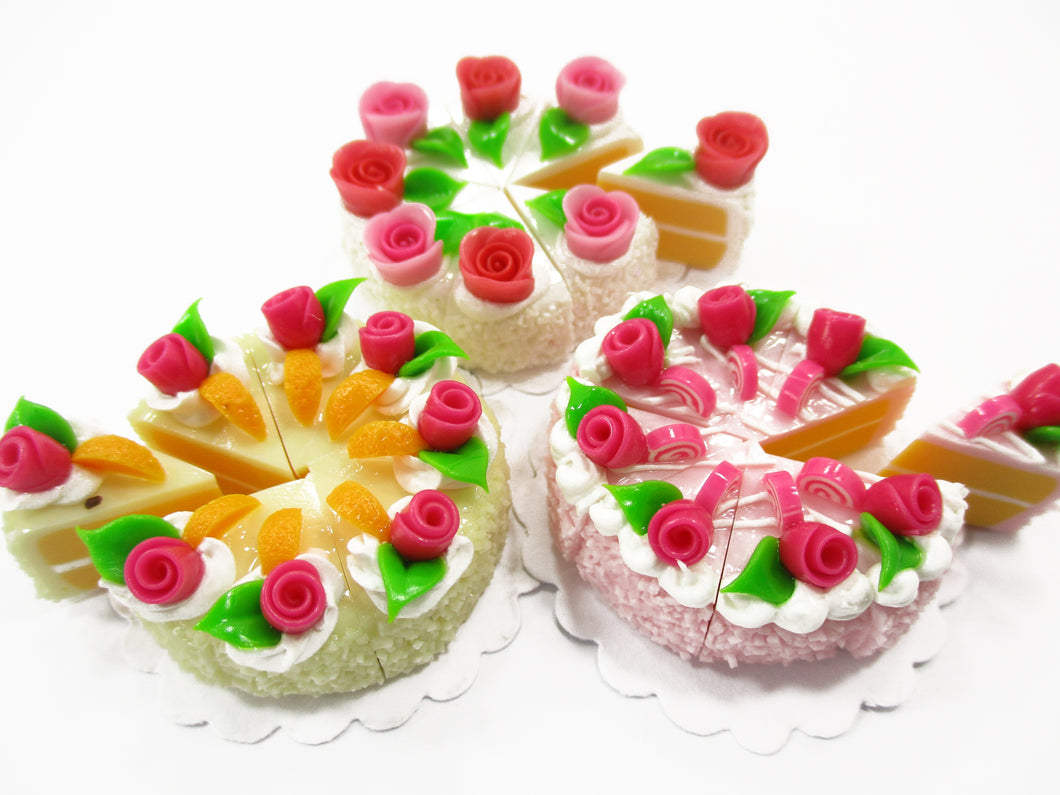 Dollhouse Miniature Food 24 Cuts Slice Cake Assorted Color Rose Flower Top 15295