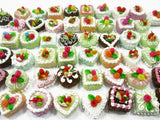 Dollhouse Miniature Food 50 Mixed Color Fruit Flower Cake 1.5 cm WHOLESALE 15306