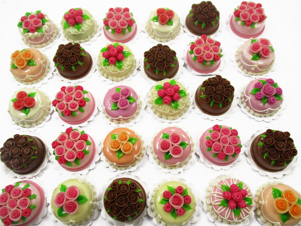 30 Mixed Color Rose Flower Cake 2 cm Dolls House Miniature Food WHOLESALE 15310