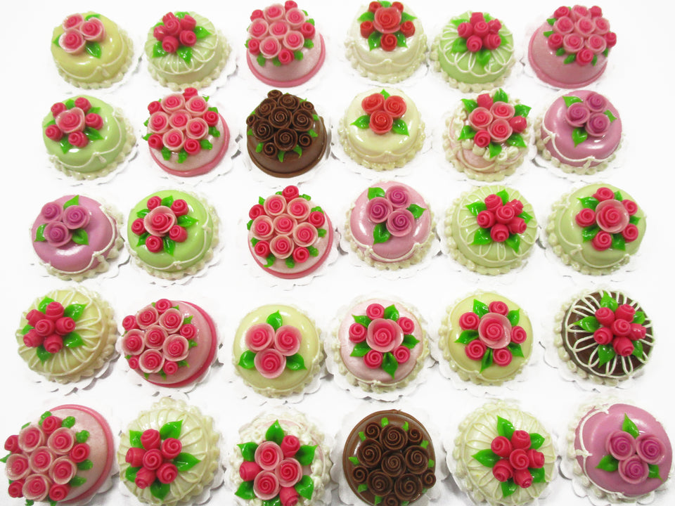 30 Mixed Color FLOWER ROSE 2 cm Cake Dolls House Miniature Food WHOLESALE 15311