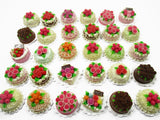 30 Mixed Color FLOWER ROSE 2 cm Cake Dollhouse Miniature Food WHOLESALE 15314