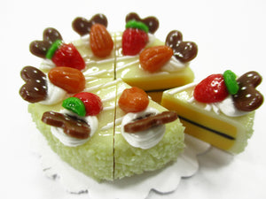 Dollhouse Miniature Food 8 Cut Slice Vanilla Cake Almond Topping Supply 15334