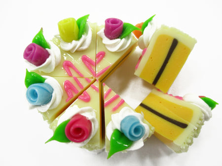 Dollhouse Miniatures Food 8 Cuts Slice Vanilla Cake Rose Flower Supply 15337