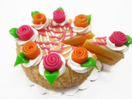 Dollhouse Miniatures Food 8 Cuts Slice Orange Cake Rose Flower Supply 15344