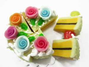 Dollhouse Miniatures Food 8 Cuts Slice Vanilla Cake Rose Flower Supply 15360