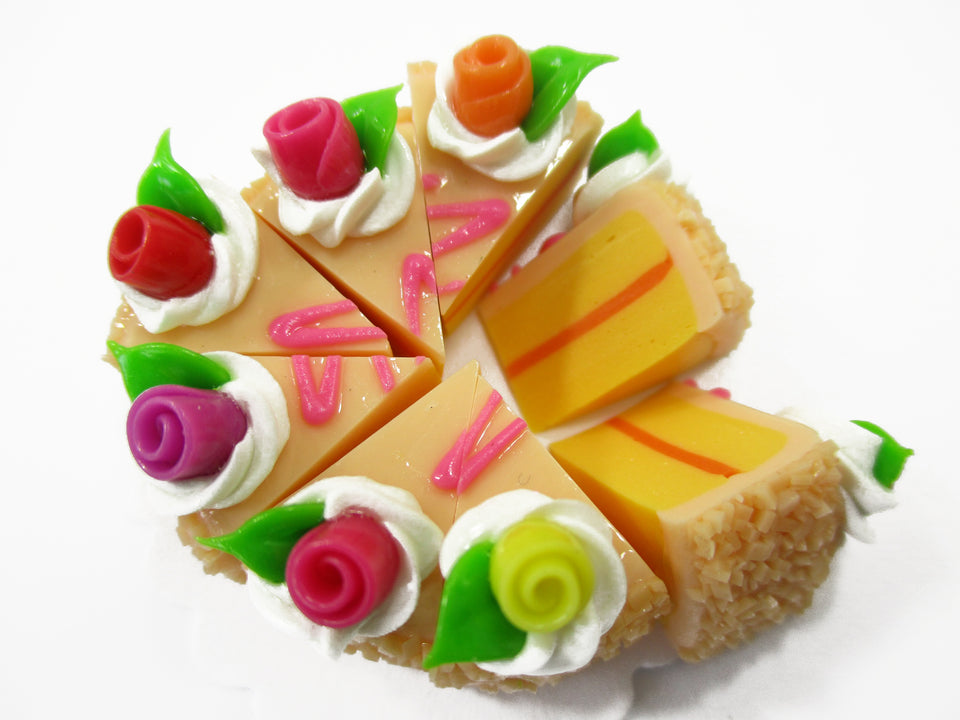 Dollhouse Miniatures Food 8 Cuts Slice Orange Cake Rose Flower Supply 15395