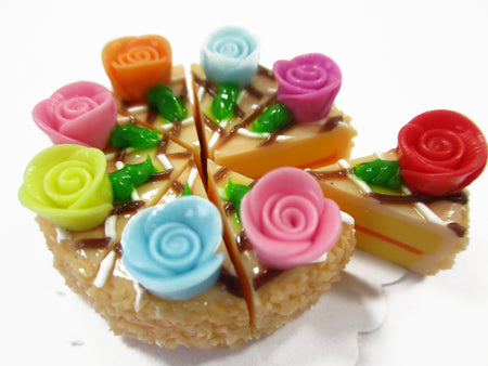 Dollhouse Miniatures Food 8 Cuts Slice Orange Cake Rose Flower Supply 15402