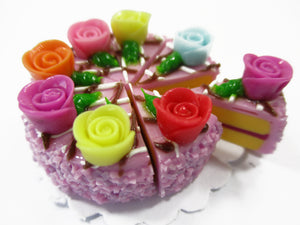 Dollhouse Miniature Food 8 Cut Slice Lilac Cake Rose Flower Topping Supply 15403