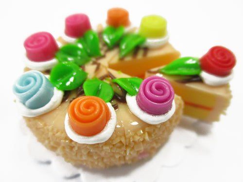 Dollhouse Miniatures Food 8 Cuts Slice Orange Cake Rose Flower Supply 15405
