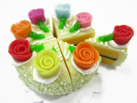 Dollhouse Miniatures Food 8 Cuts Slice Vanilla Cake Rose Flower Supply 15406