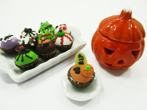 Dollhouse Miniatures Food Halloween Cup Cake Pumpkin Caved Jack-O-Lantern 15446