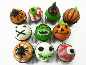 Dollhouse Miniature Food Halloween Seasonal Mixed 10 Cupcake Bakery Supply 15449