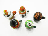 Dollhouse Miniatures 5 Halloween Cupcake Ceramic Mug cake Seasonal Supply 15450