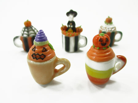 10 Mugs Coffee Cups Dollhouse Miniatures Ceramic Supply Food Halloween Orange