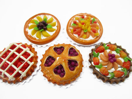 Dollhouse Miniatures Food 5 Fruit Pies Tart Toy food 2.5 cm Cake Dessert 15465