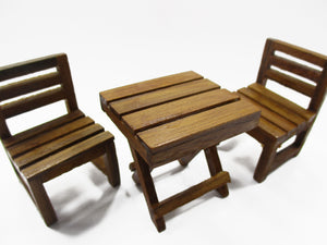 Dollhouse Miniature Wooden Furniture Outdoor Table Garden Set Handmade 15481