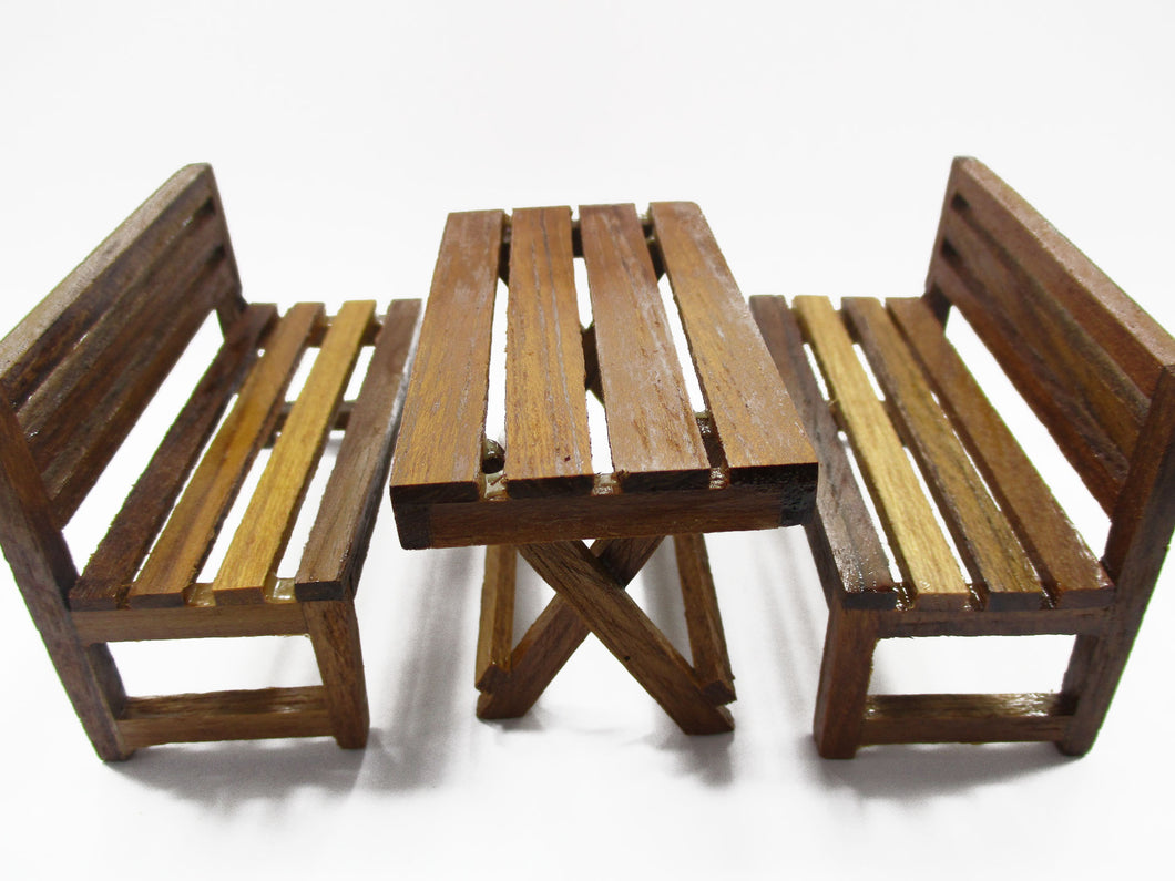 Dollhouse Miniature Wooden Furniture Outdoor Table Bench Garden Set 15482
