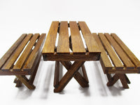 Dollhouse Miniature Wooden Furniture Outdoor Table Bench Garden Set Supply 15483
