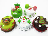 Dollhouse Miniature Food 5 Mini Christmas Cake 1.5 cm Seasonal Holiday 15488