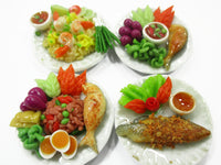 Dollhouse Miniature food 4 Ceramic Plates Thai Food Dollhouse Food Supply 15495