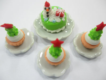Dollhouse Miniature Food Christmas 1.5 cm Mini Cake Cupcake Ceramic Plate 15504