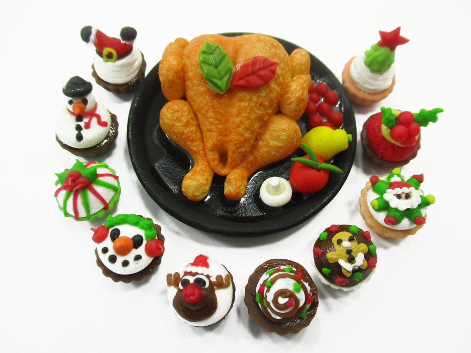 Dollhouse Miniature Food Turkey Christmas Cupcake Thanksgiving Party 15505