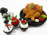 Dollhouse Miniature Food Snowman Ceramic Turkey Christmas Seasonal Cupcake 15506