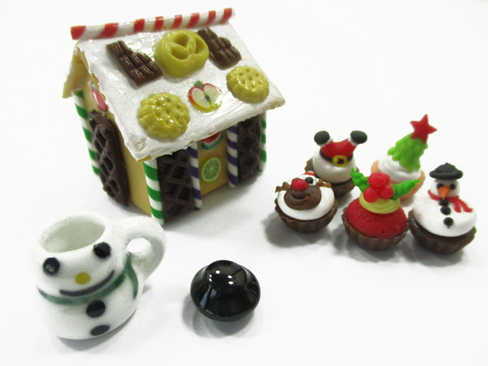 Dollhouse Miniature Food Gingerbread House Christmas Cupcake Snowman Sweet 15510