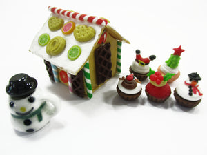 Dollhouse Miniature Food Gingerbread House Christmas Cupcake Snowman 15511