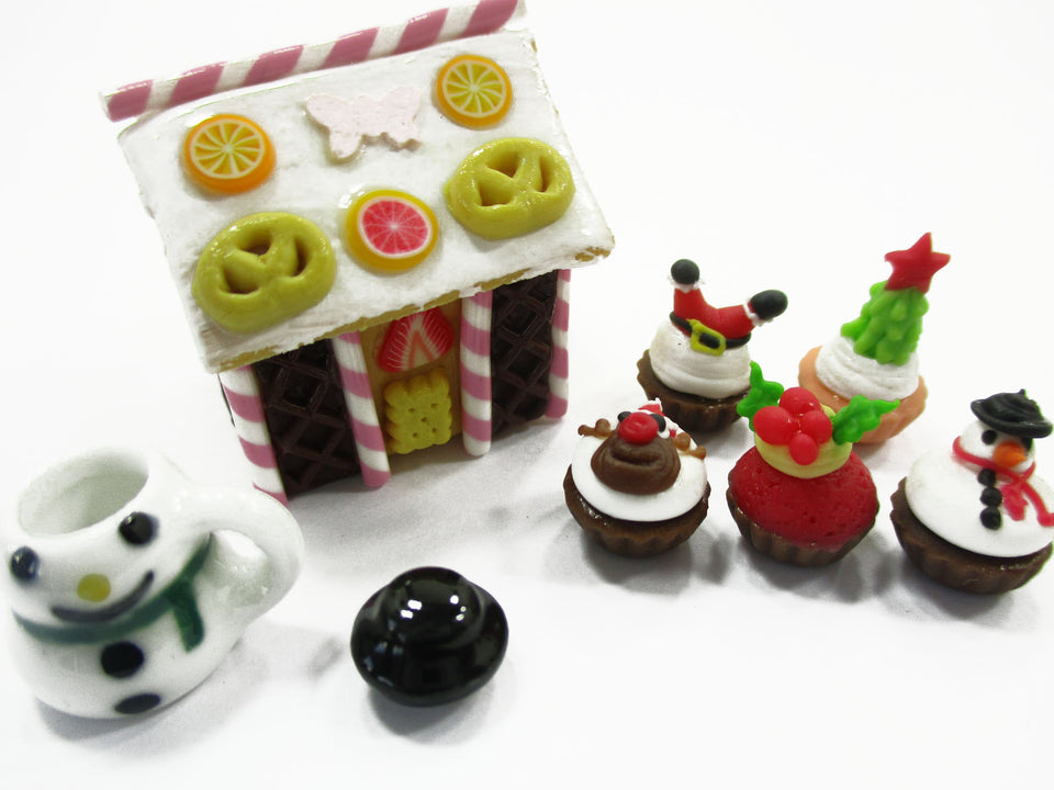 Dollhouse Miniature Food Gingerbread House Christmas Cupcake Snowman 15515