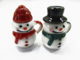 Dollhouse Miniature NEW 2 Snowman Ceramic Cup Mug Christmas Supply Charms 15532