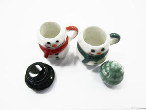 Dollhouse Miniature NEW 2 Snowman Ceramic Cup Mug Christmas Supply Charms 15533